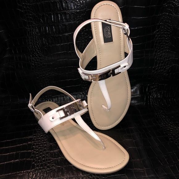 {Jones New York} White Leather Open Toe Sandals